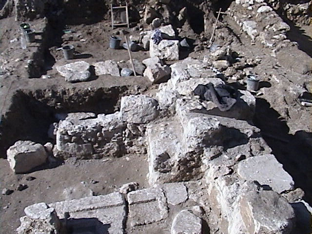 Closeup of excavated wall